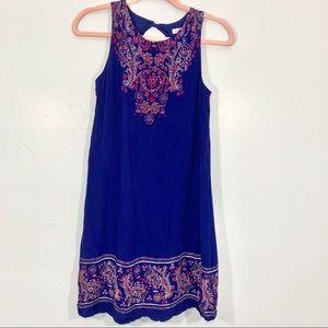 Xhilaration | Blue Print Key Hole Back Midi Dress